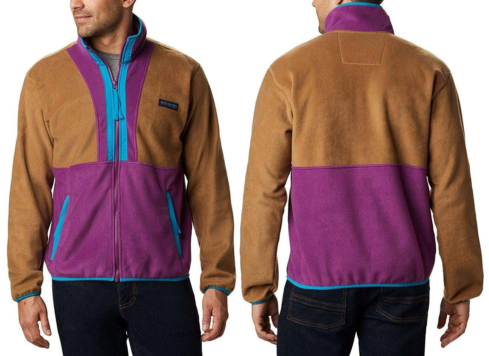 The Columbia Back Bowl fleece jacket features '90s-inspired color-blocking