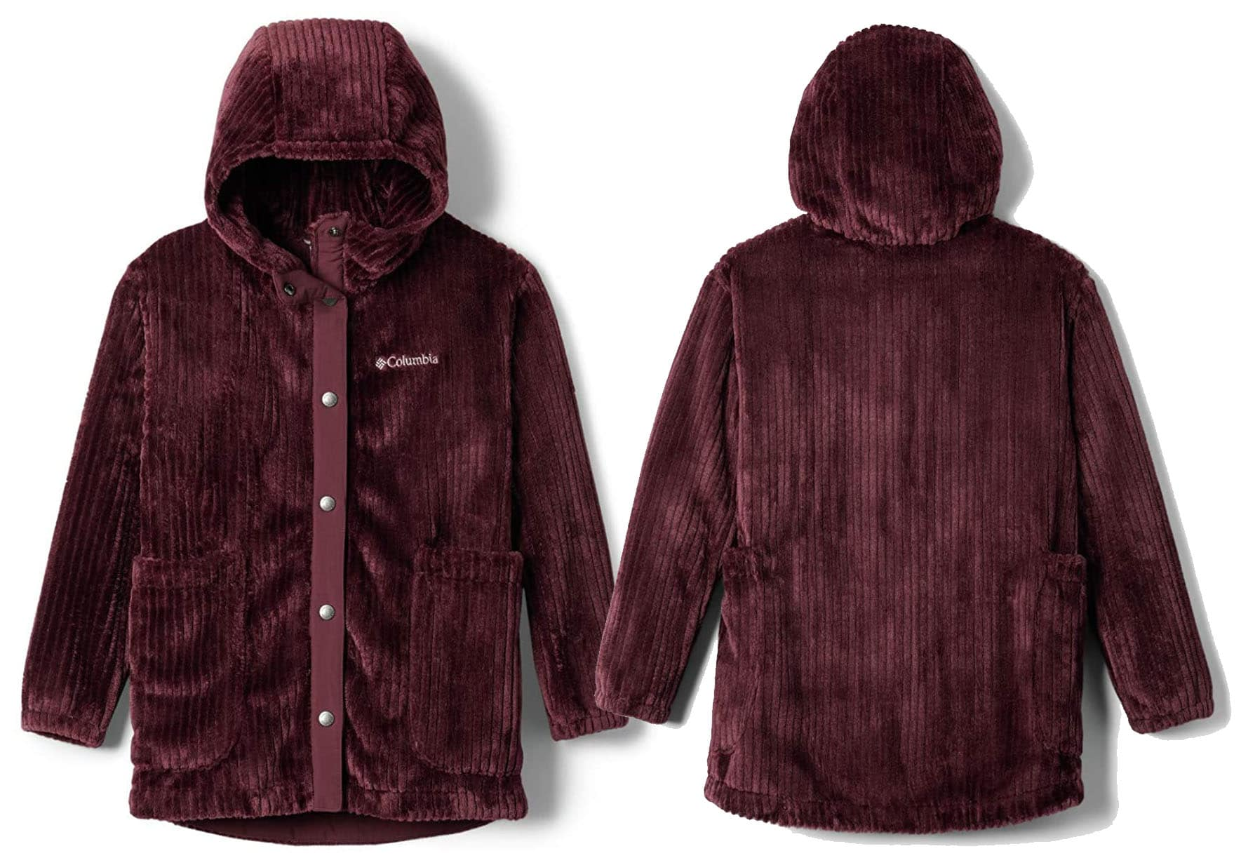 Pretty and comfy, the Fire Side jacket features velvety soft fleece inside and out
