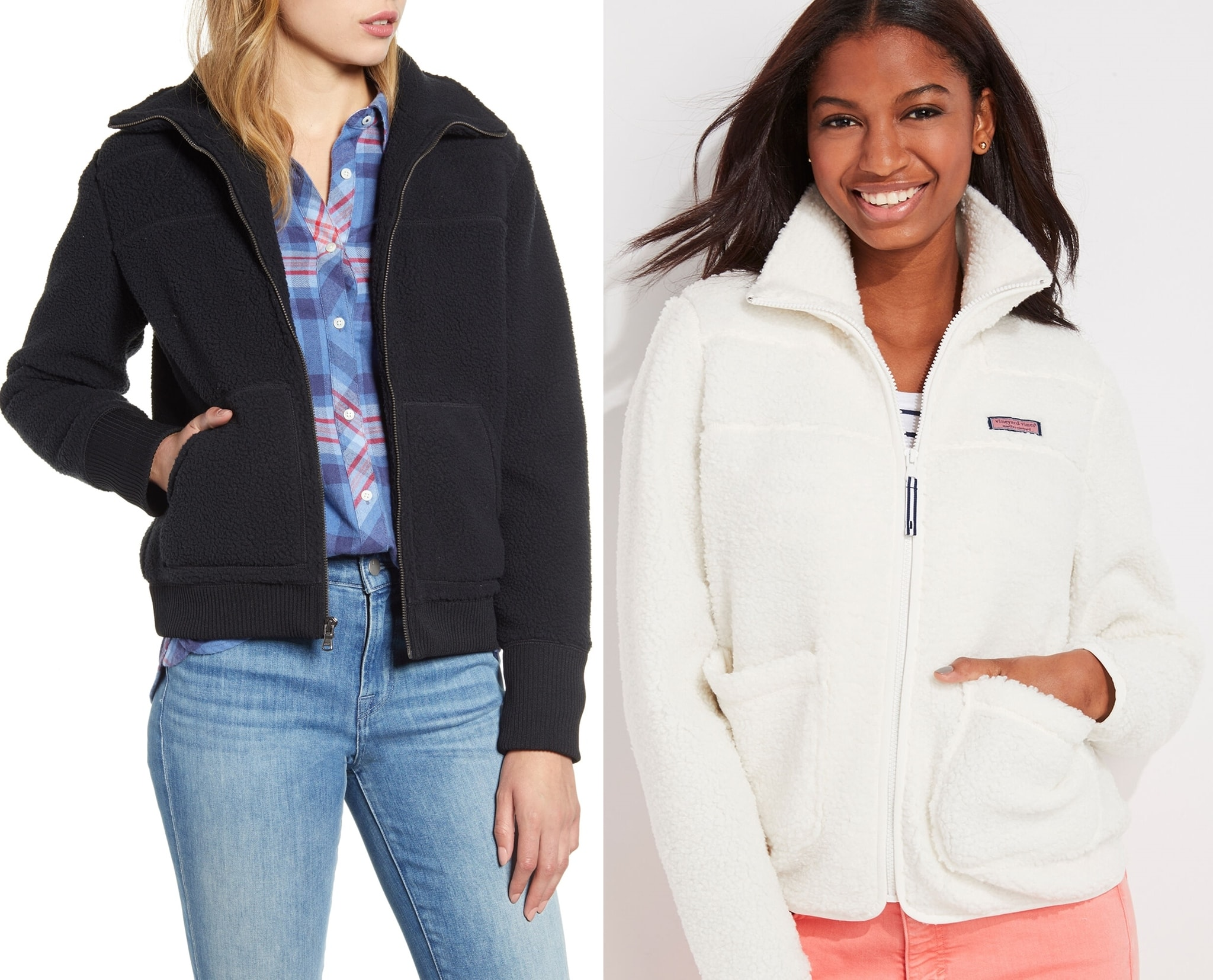 A go-to jacket for Saturdays on the sidelines feels wonderfully cozy inside and out in high-pile fleece with a split kangaroo pocket to keep hands warm