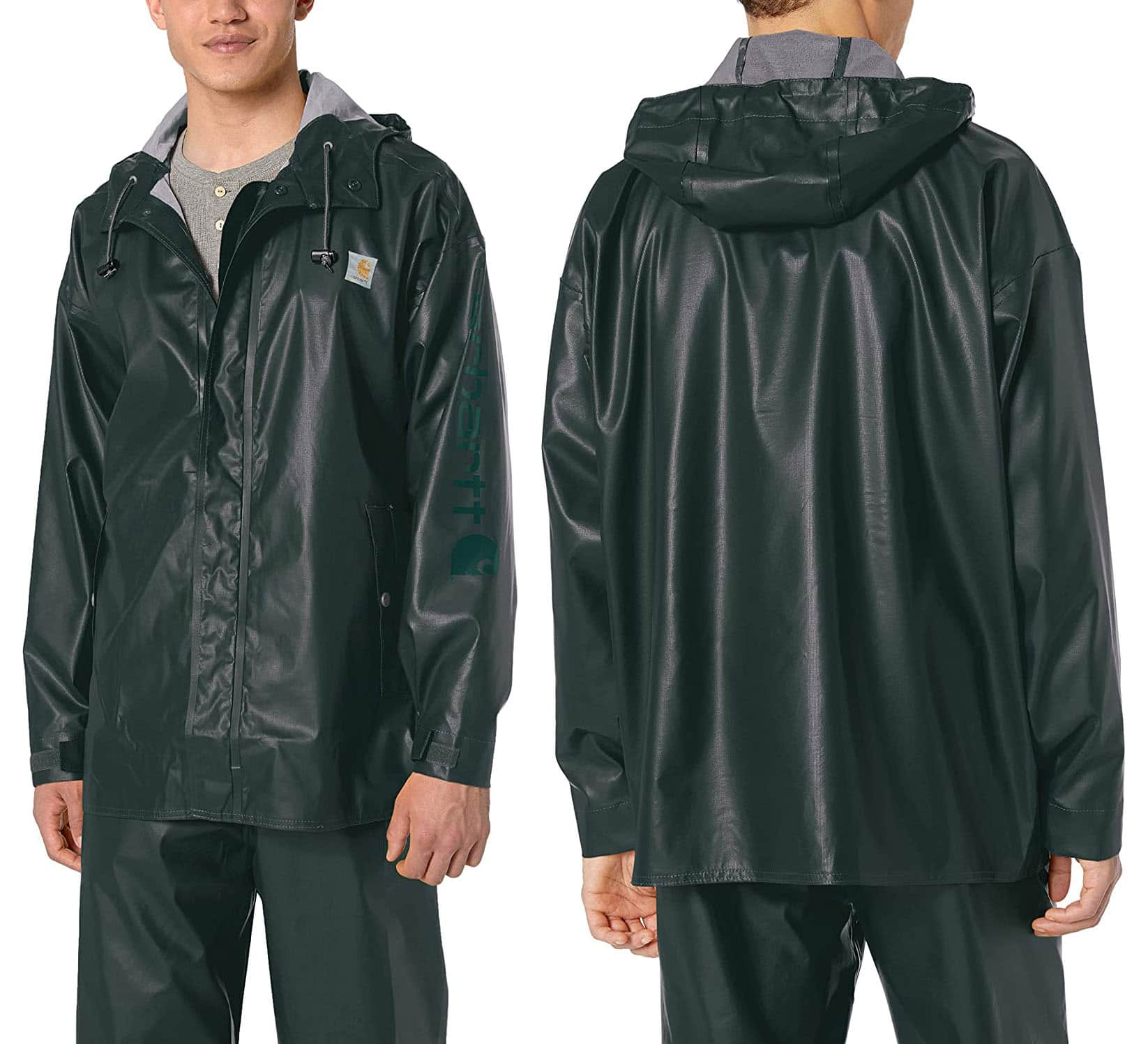 Designed for heavy rains, this Carhartt jacket guarantees full coverage and lightweight comfort with its waterproof shell comprised of 0.35 mm 92% polyethylene and 8% vinyl acetate