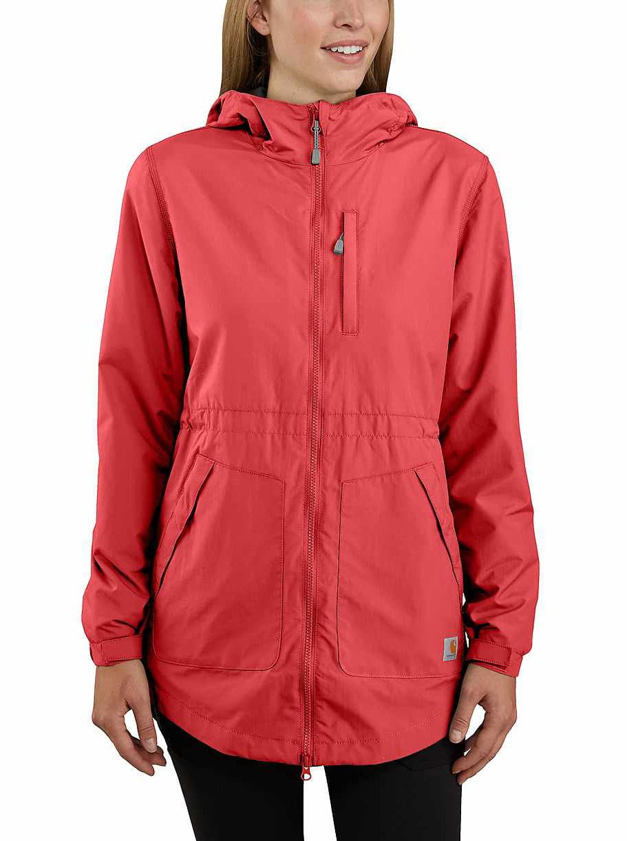 Perfect for light showers, the Carhartt Rain Defender jacket comes with a drawcord hood, full two-way zippers, and a long length for full coverage