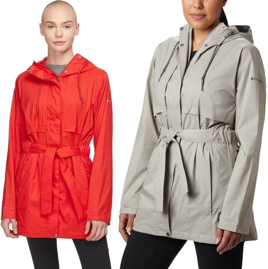 A classically styled women's raincoat for casual urban escapades