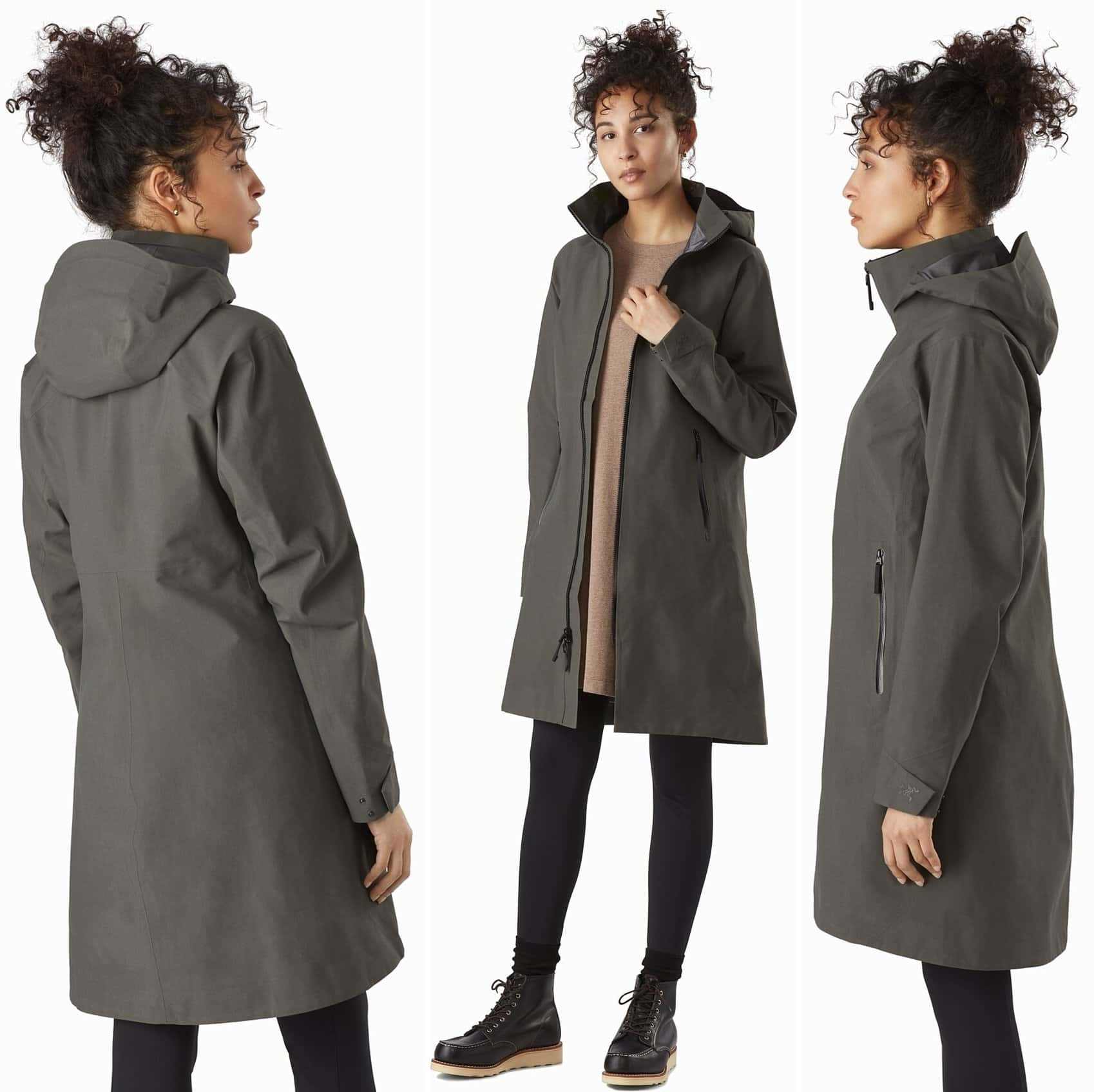 This long women's GORE-TEX raincoat is trim fitting and designed for inclement weather in urban environments