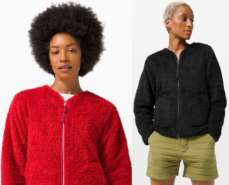 This plush soft jacket with breathable sherpa fleece is the ultimate cozy layer for transitional comfort