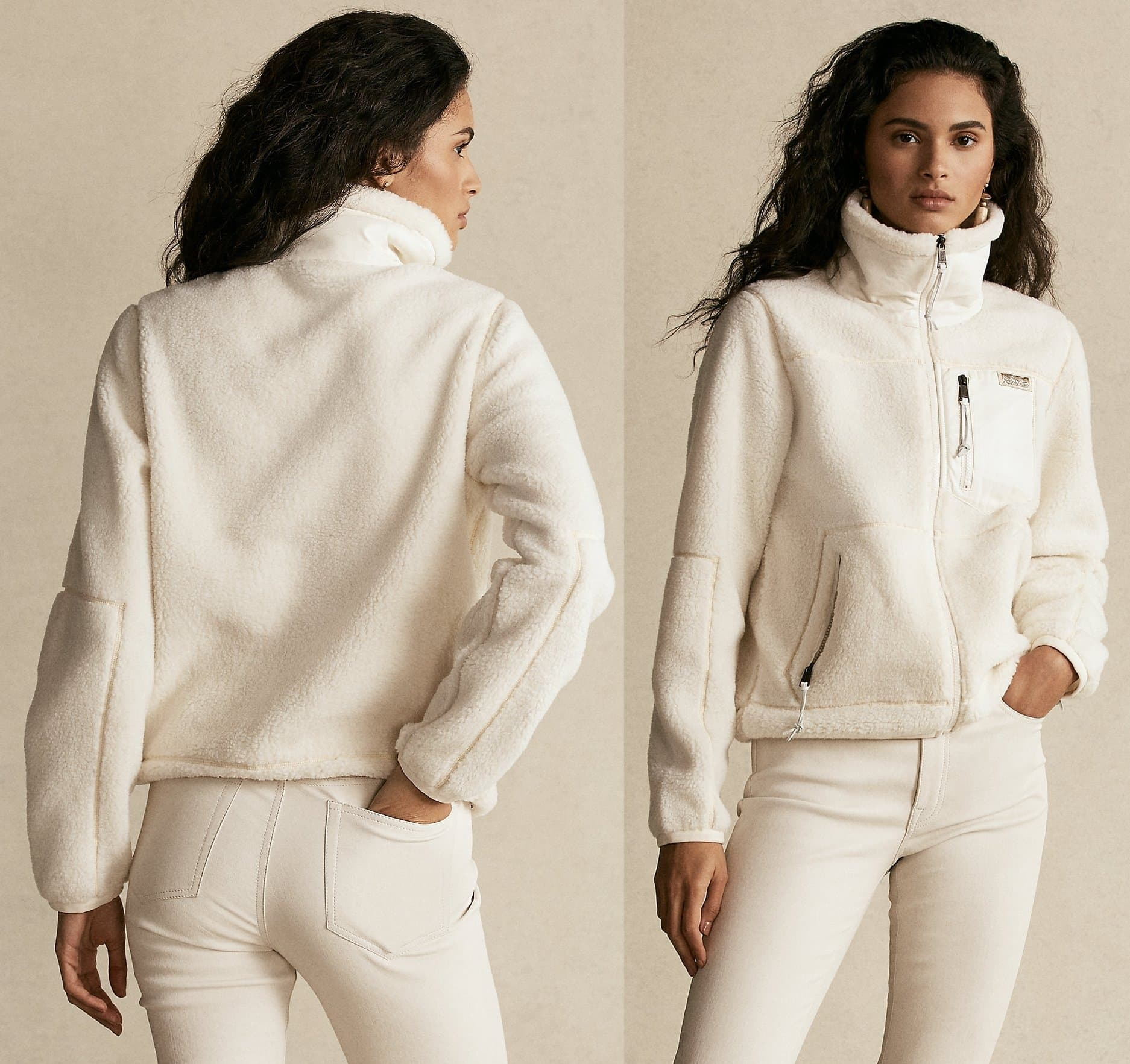 Supple sheepskin details the collar and pocketing of this full-zip jacket, which is crafted from plush fleece for premium softness and warmth