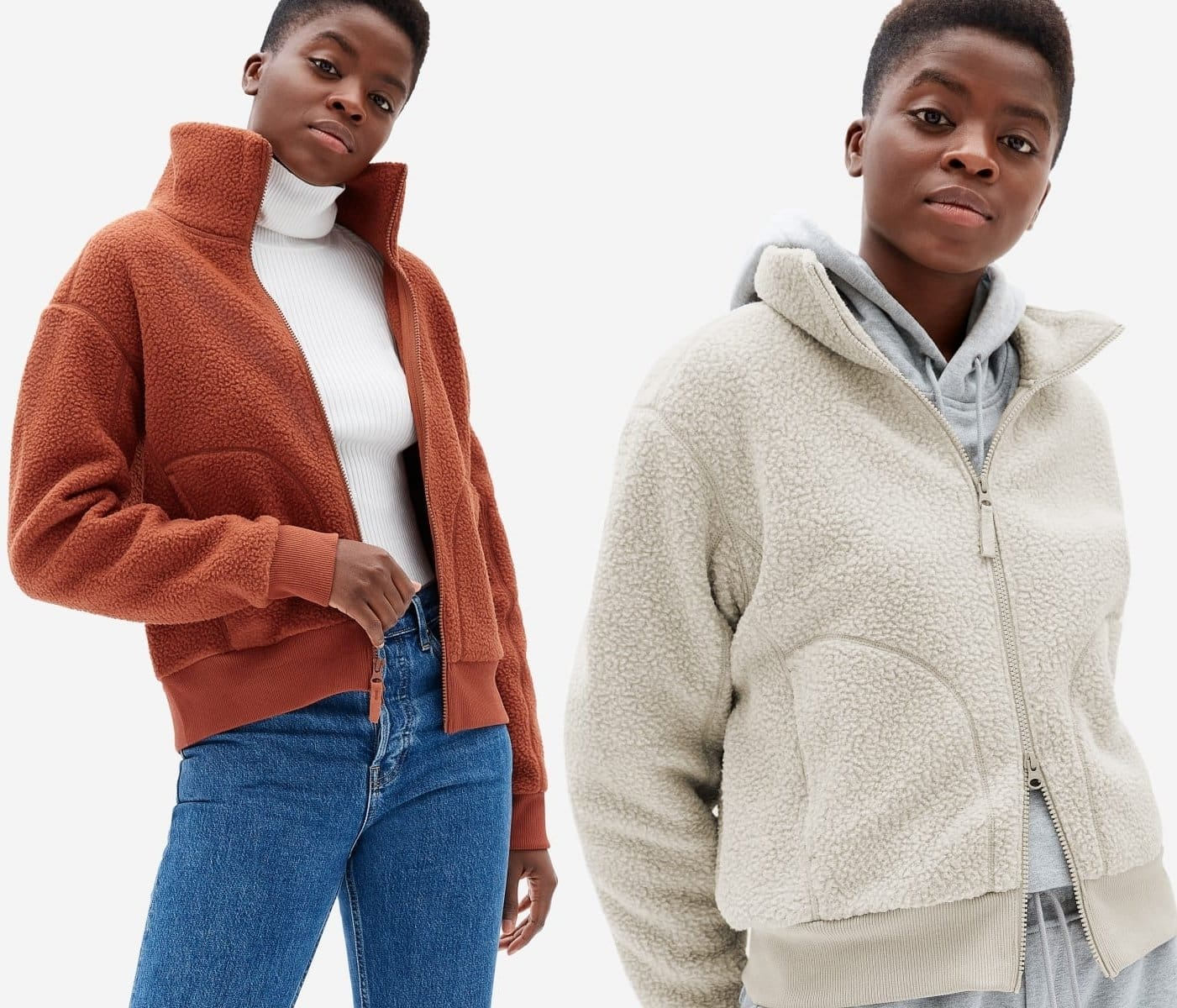 This fleece fabric bomber jacket features a relaxed cropped fit, a wide collar, and two side pockets