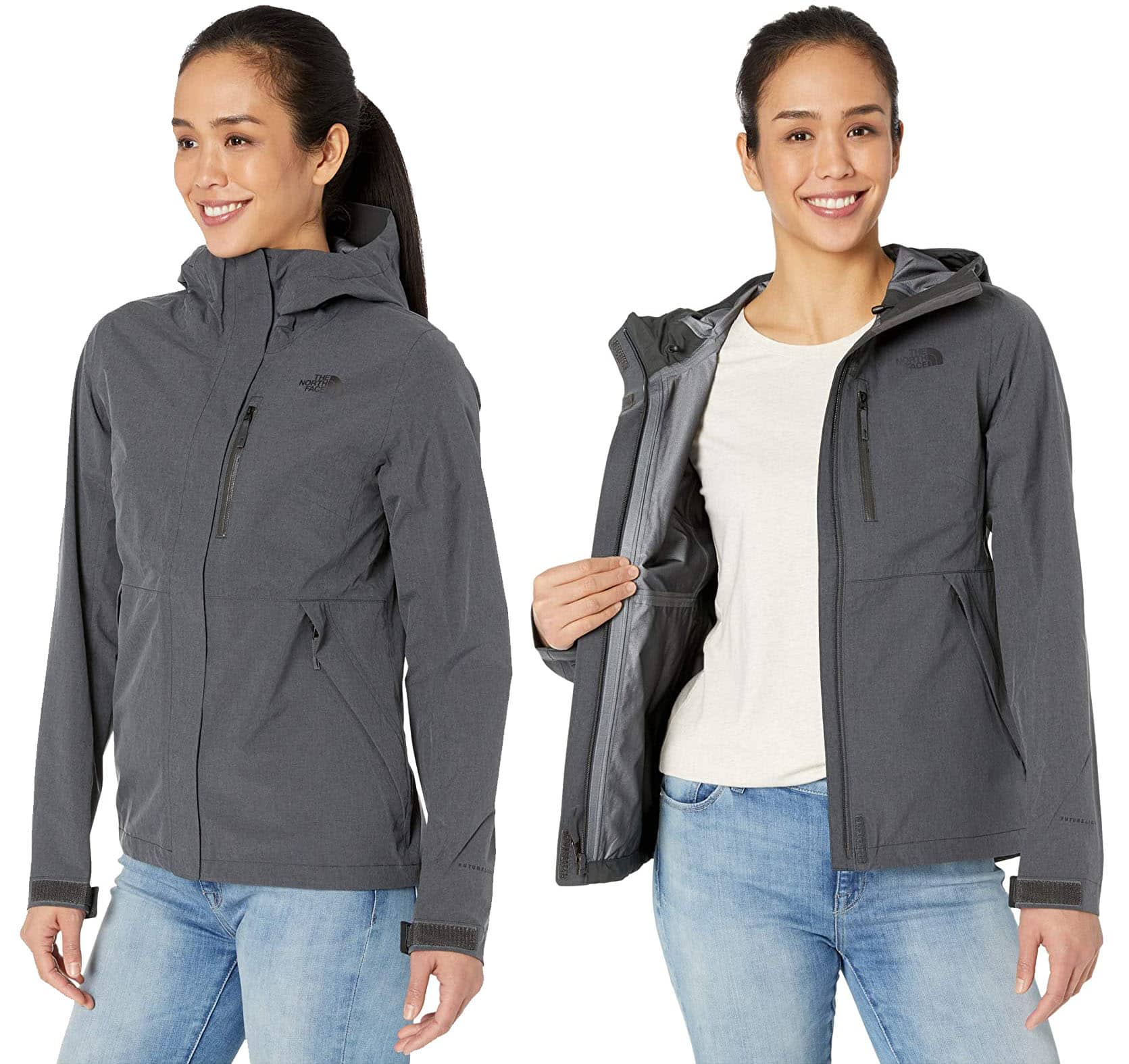 Made from recycled fabric, this lightweight rain jacket provides full coverage with an adjustable hood and hook-and-loop cuff tabs