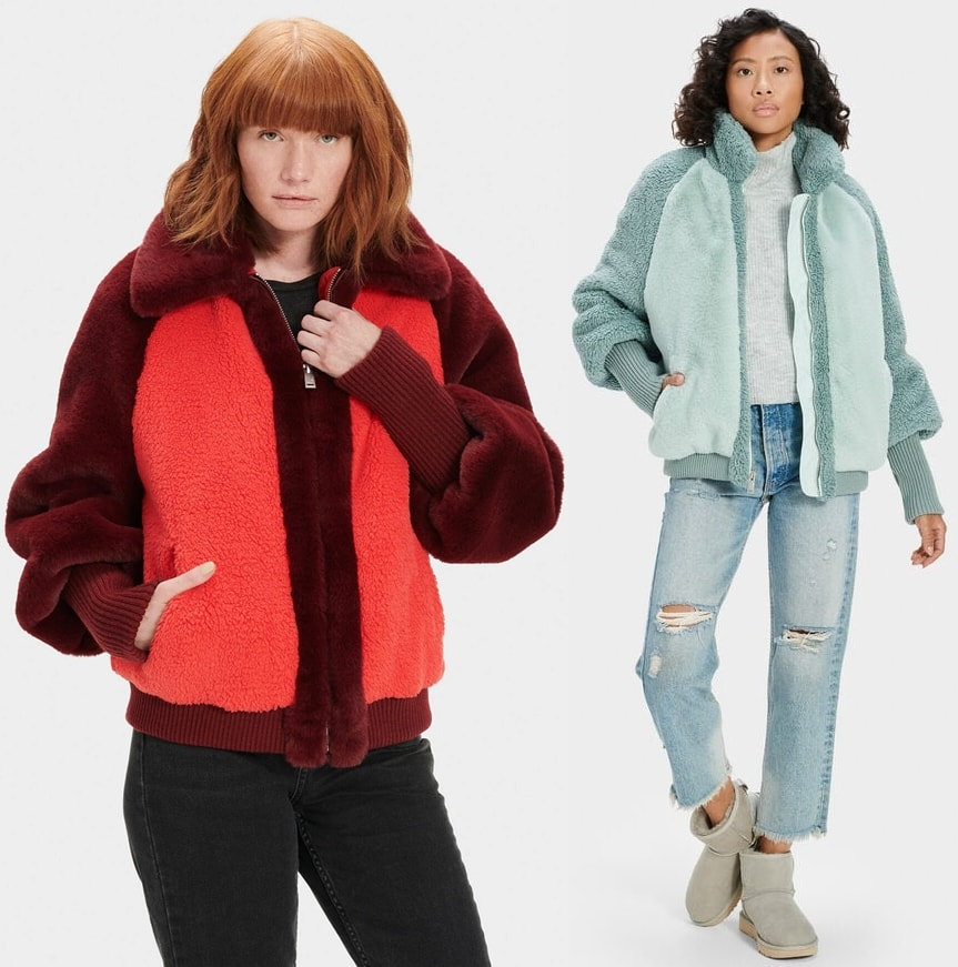 You'll love cozying up in this plush color-blocked jacket boasting an oversized silhouette accented with slouchy balloon sleeves and elongated rib-knit trim