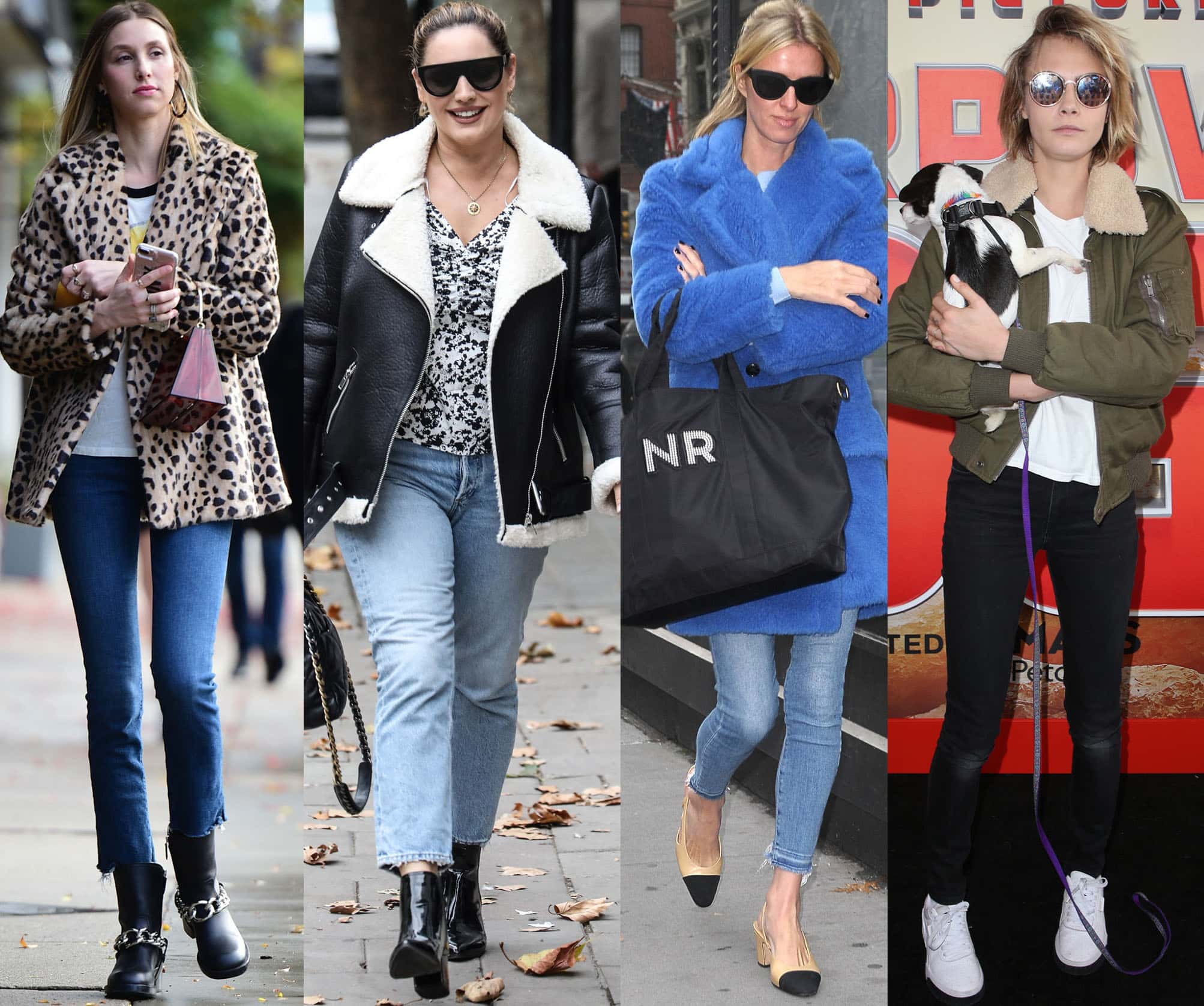 Whitney Port, Kelly Brook, Nicky Hilton, and Cara Delevingne show how to wear fleece jackets with jeans