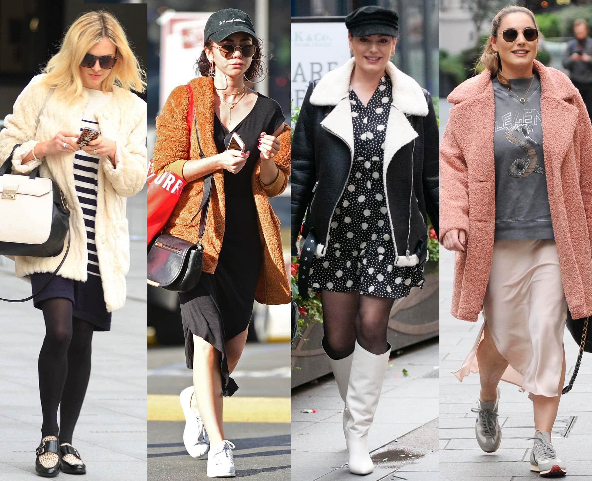 Fearne Cotton, Sarah Hyland, and Kelly Brook style their fleece jackets with dresses