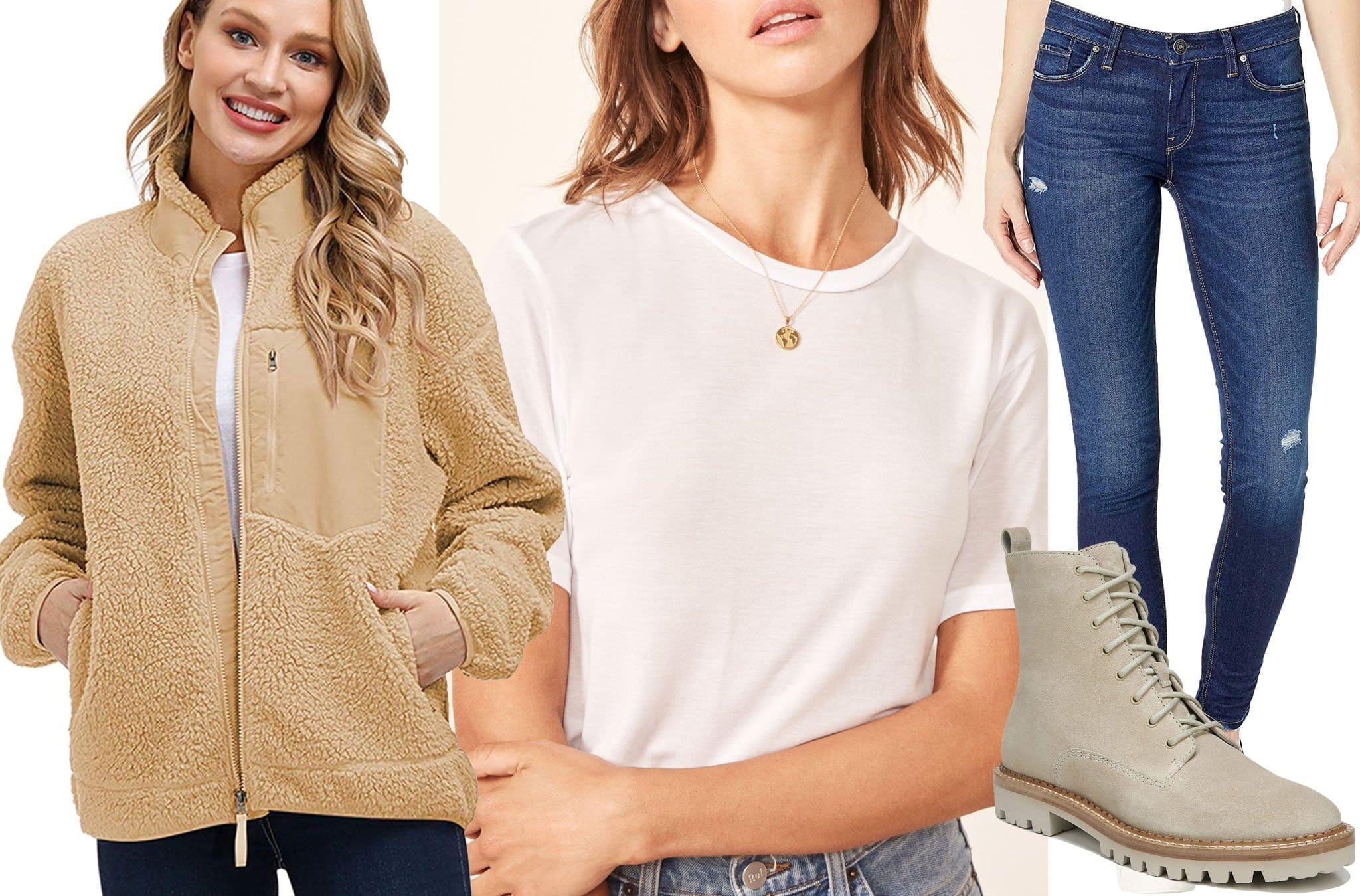 Kisscynest Women's Full Zip Fleece Jacket, Reformation Joplin Tee, Hudson Jeans Krista Mid-Rise Super Skinny in Cross Out, Vince Cabria Combat Boots
