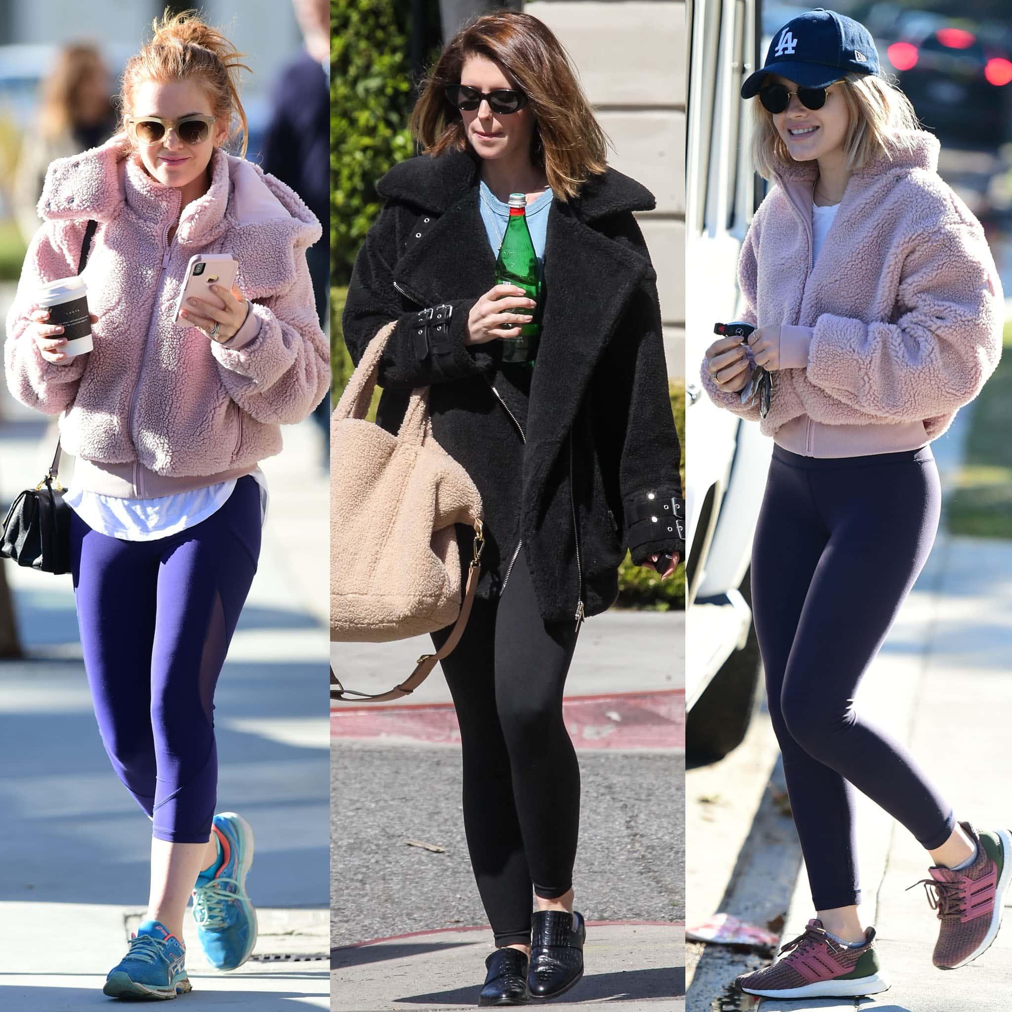 Isla Fisher, Katherine Schwarzenegger, and Lucy Hale wear their fleece jackets with leggings